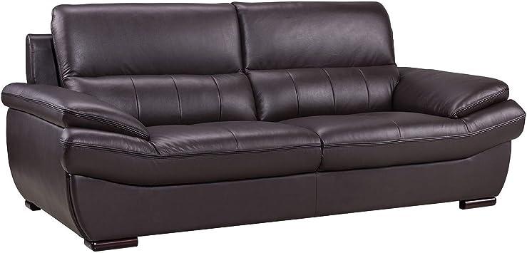 Amazon.com: Benjara Leather Upholstered Wooden Sofa With Spilt Backrest, Brown: Furniture & Decor