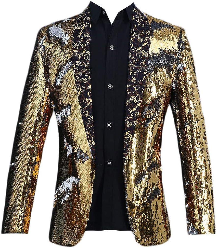 Abetteric Mens Sequin Party Nightclub Style Fit Premium Suit Coat Jacket