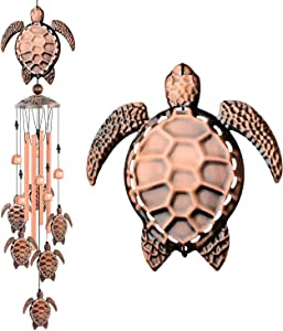 JOBOSI Sea Turtle Wind Chimes Brass Wind Chime Sympathy Wind Chimes Outdoor Gifts for Mom Gift Windchime Garden Windchimes Decorations Outdoor Patio Decorations with S Hook Indoor Outdoor Wind Chimes