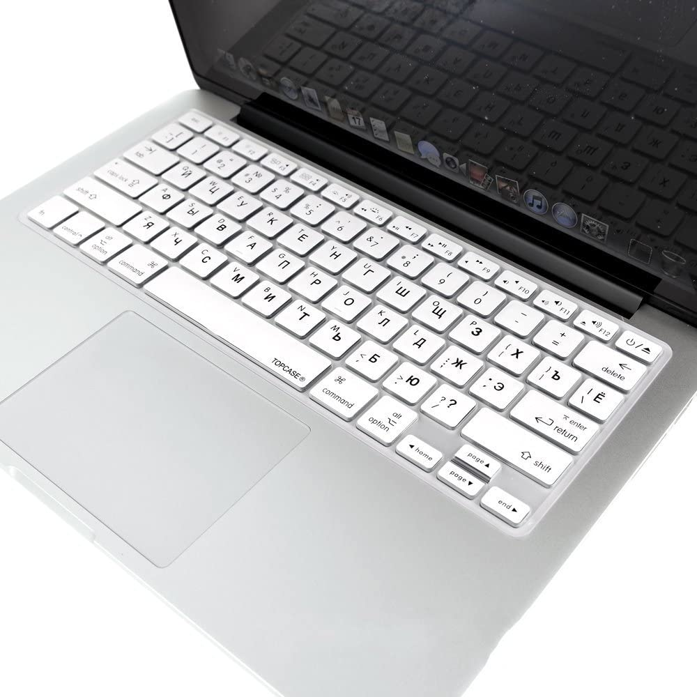 Russian//English Keyboard Cover HQF Notebook SiliconeRussian Keyboard Skin Protection Laptop Layout for All Apple MacBook Air Pro 13 15 US Version Silver