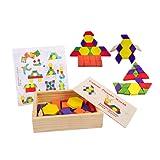 Lewo Tangrams Set Children Brain Training Geometry Games Jigsaw Puzzles Parttern Blocks(60 Pieces)