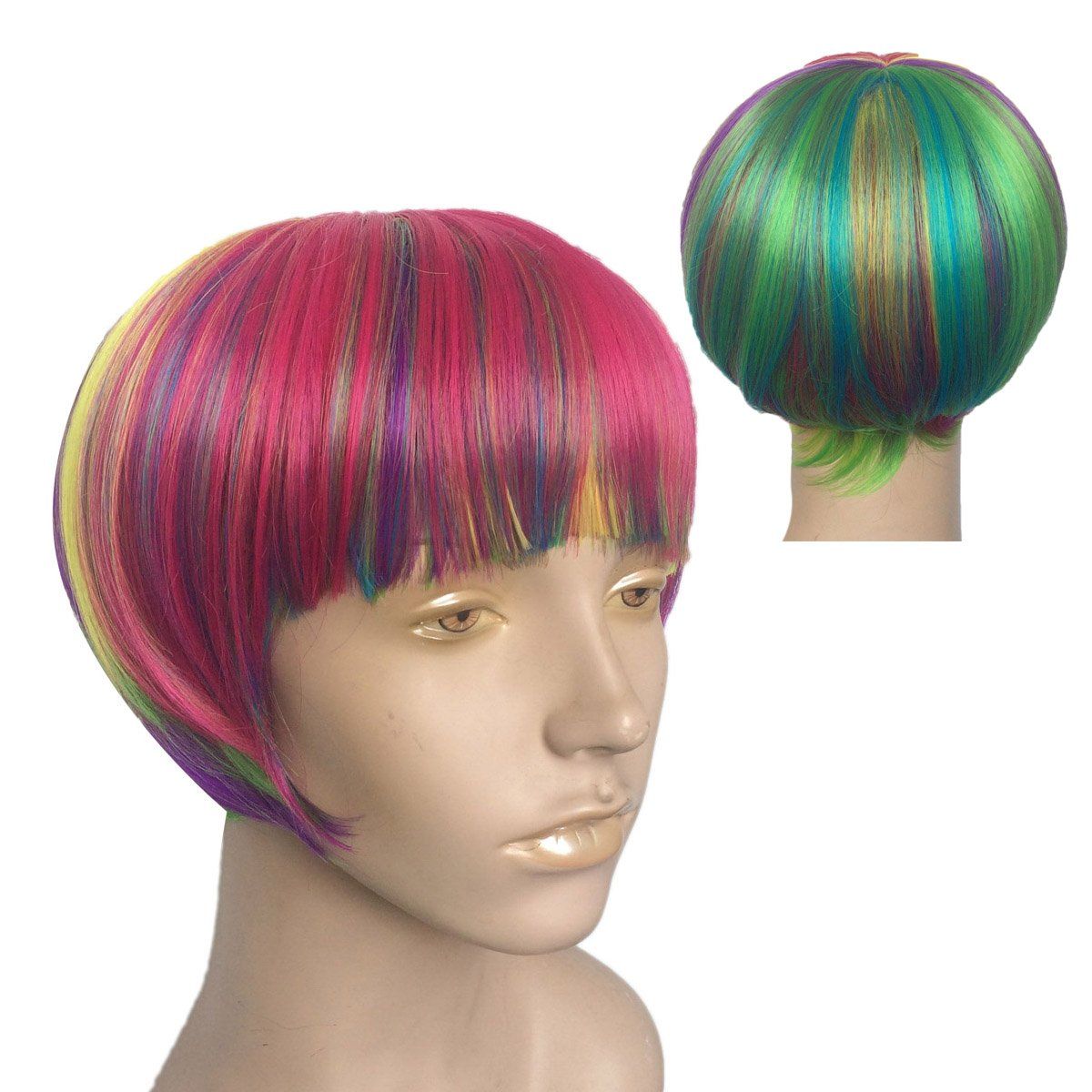 Short Rainbow Wig Cosplay Wigs Heat Resistant Synthetic Fiber BOB Hairpiece , Free Wig Cap