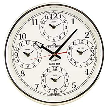 Office Wall Clock With Four Different Cities New York London Sydney And  Tokyo Dia. 14.5u0026quot