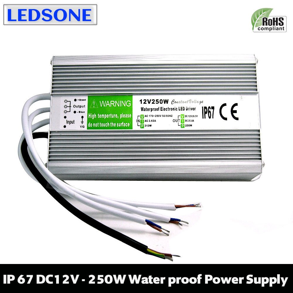24watt 2Amp IP67 Waterproof LED Transformer Driver Power Supply for Strip DC 12V (DC12V 2.0A, 24W) LEDSone