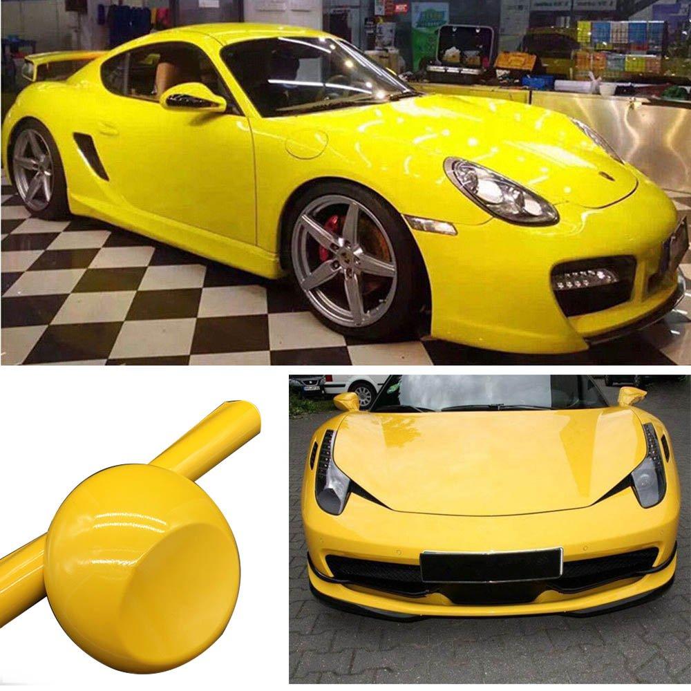 color giallo lucido 152,4/x 30,5/cm Pellicola in vinile per carrozzeria auto senza bolle Hoho