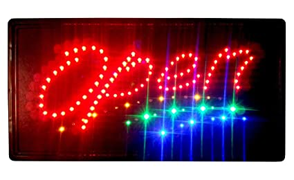 Construction 2 Color 10 x 19 Inches Animated Motion LED Neon Light Open  Sign with 3-Way Switch and Chain (LED-OPS03)