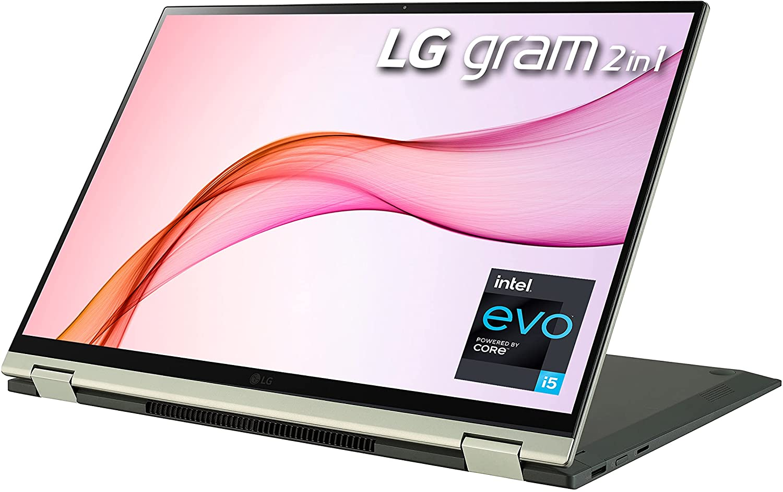 LG Gram 16T90P 16″ WQXGA (2560×1600) 2-in-1 Lightweight Touch Laptop, Intel evo with 11th Gen Core i5, 16GB RAM, 512GB SSD