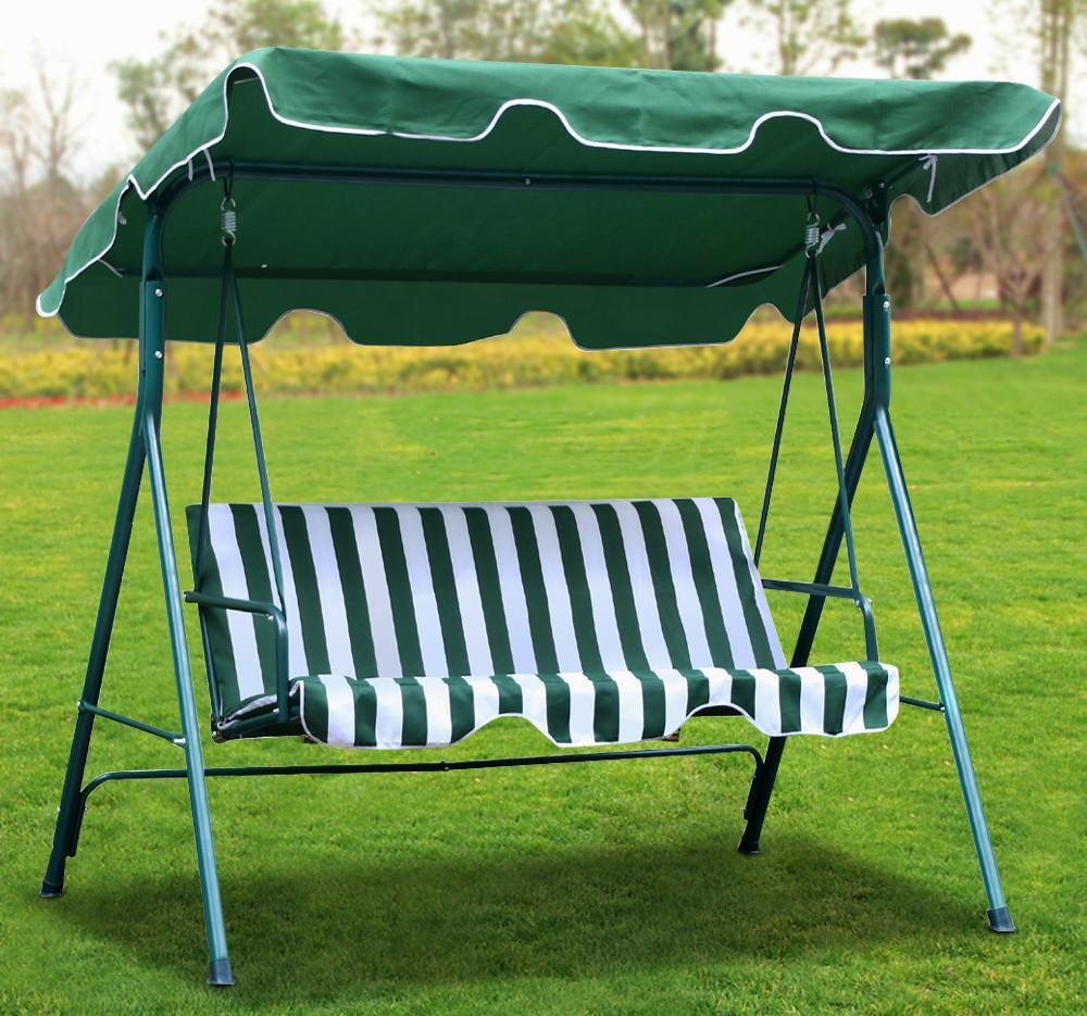 Amazon.com : Yaheetech Green Patio Outdoor Swing Canopy With Weather  Resistant Seat (3 Seats) : Garden U0026 Outdoor