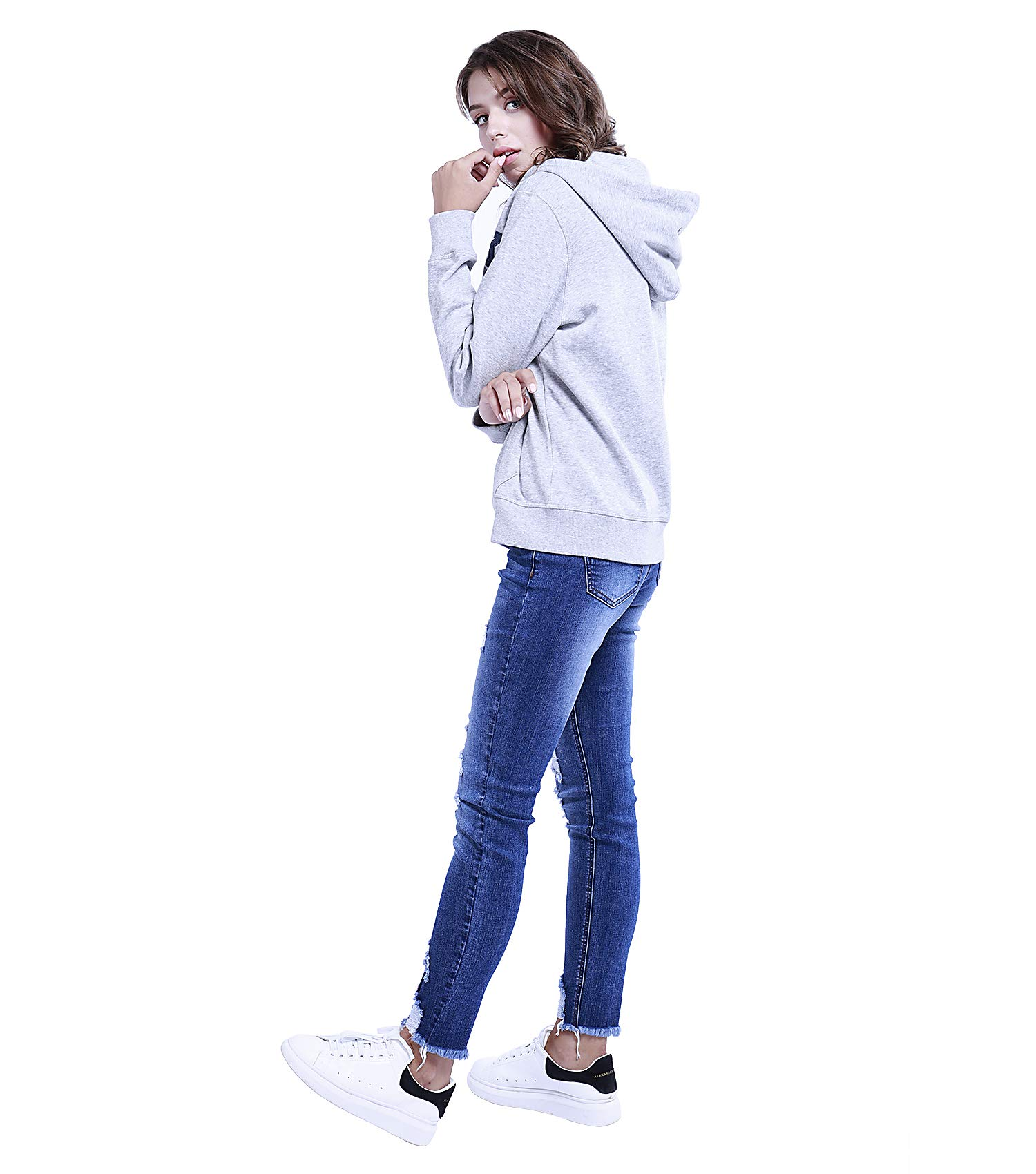 TWO BLOCKS OFF Womens Pull Over Hoodie Long Sleeve with Pockets Casual Pullover Sweatshirt Tops Light Grey Size S by TWO BLOCKS OFF (Image #3)