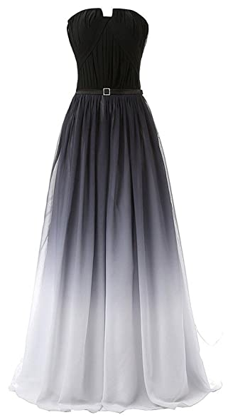 BEALEGAN Lady Womens Gradient Colorful Chiffon Prom Dresses Ombre Evening Gown BlackColorful 2