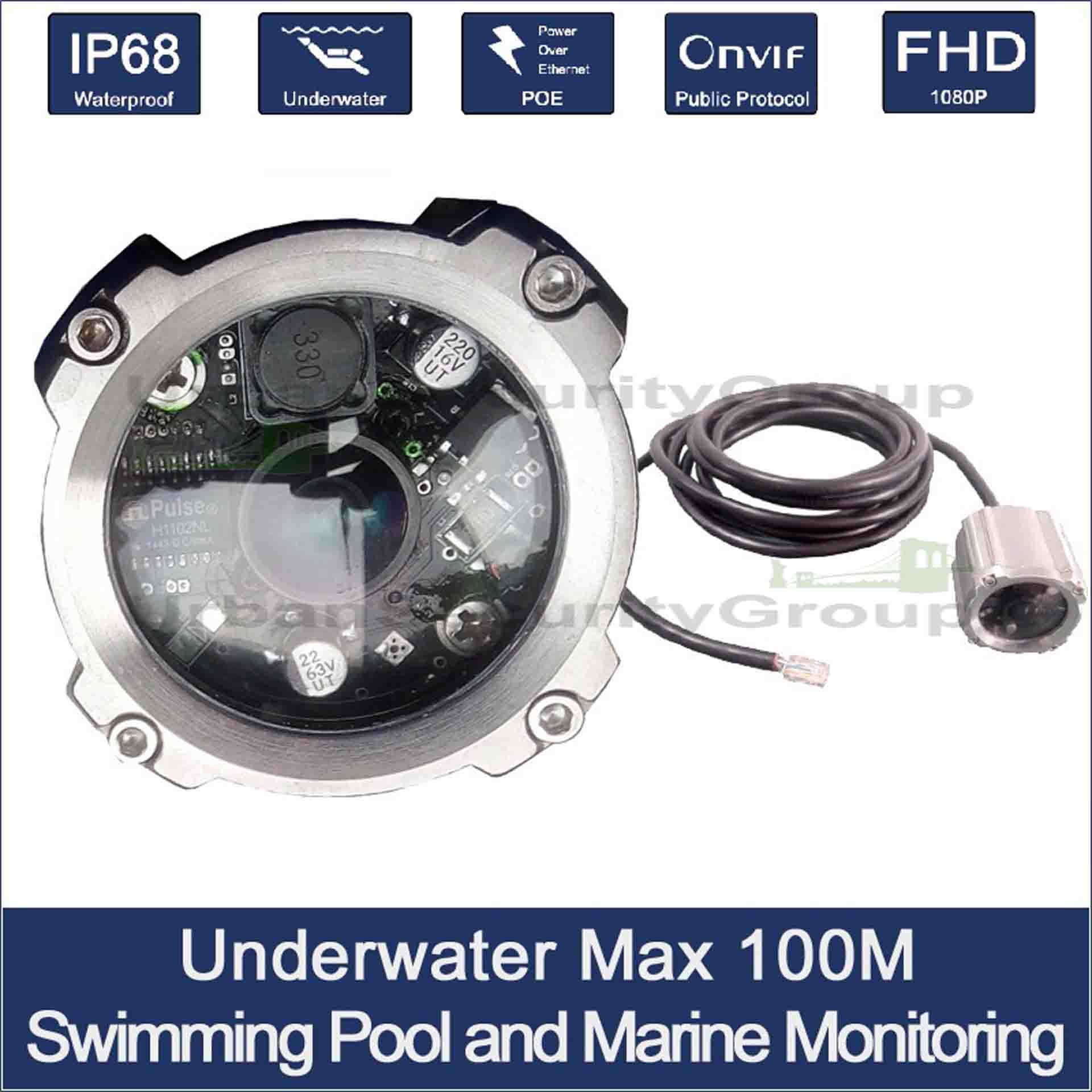 IP PoE 2MP 1080P Underwater Security Camera : 1.2mm 150°, Power Over Ethernet : 80m 260ft Water Depth : 30m 98ft Waterproof Network Cable : IP68 : Stainless Steel 316L : Toughened Safety Glass (ESG)