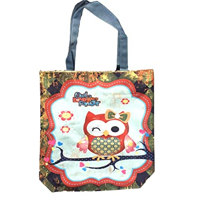 Canvas Tote Bag For Women, Canvas Owl Tote Bag with Zipper Closure, Large  Compartment 325d544e03