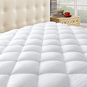 "Taupiri King Quilted Mattress Pad Cover with Deep Pocket (8""-21""), Cooling Soft Pillowtop Mattress Cover, Hypoallergenic Down Alternative Mattress Topper"