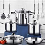 HOMI CHEF 14 PCS Mirror Polished NICKEL FREE Stainless Steel Cookware Pans and Pots Sets (No Toxic Non Stick Coating, Saute Pan + Fry Pan +2 Sauce Pans + Stock Pot +5 Utensils) Non toxic cookware sets