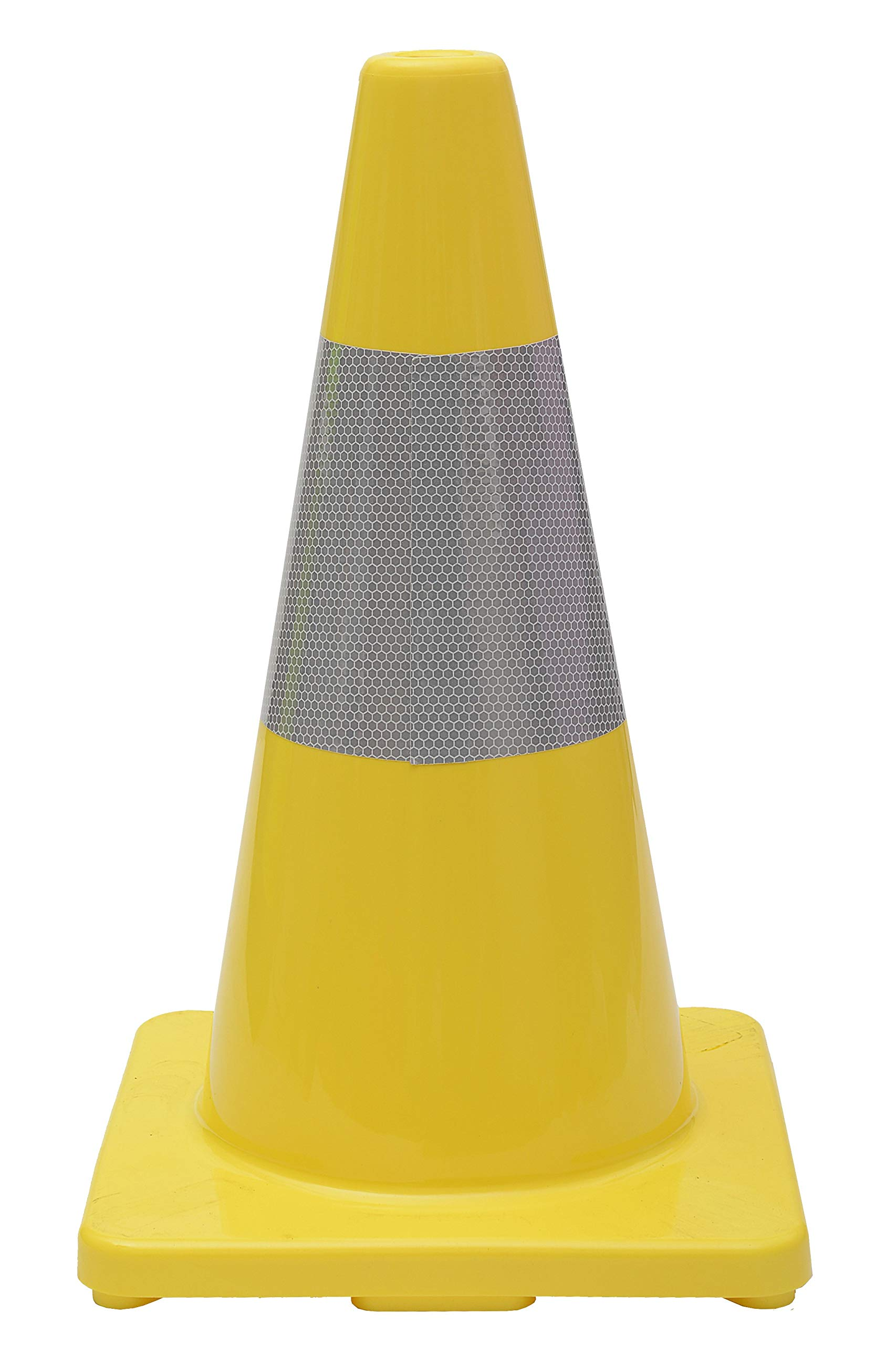 CJ Safety 18'' Yellow PVC Traffic Safety Cones (6 Cones, Yellow with Reflective Collar)