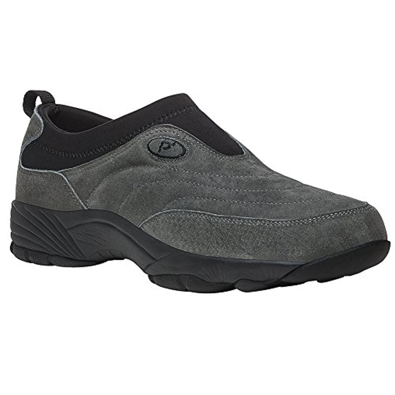 Propet Men's Wash & Wear Slip-On II Suede Shoe Pewter Suede 15 X (3E) & Cleaner