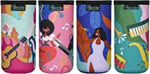Beautyflier 12oz Slim Can Neoprene Bottle Insulator Sleeve Collapsible Drink Slim Can Cover for 12 Ounce Energy Drink Beverage Beer Can (GUITAR Pattern (4pcs))