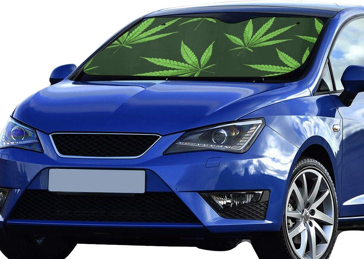 Plosds Toldos para automóviles Hojas de Marihuana Cannabis Vintage Sun Visor Ajuste Universal Mantener el vehículo Fresco Reflector sedán SUV Camión 55