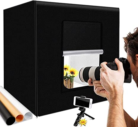 Mnjin Caja de luz LED de Estudio fotográfico portátil portátil Caja de luz Plegable de 40 cm Kit de Caja de luz para Carpa de luz fotográfica: Amazon.es: Deportes y aire libre