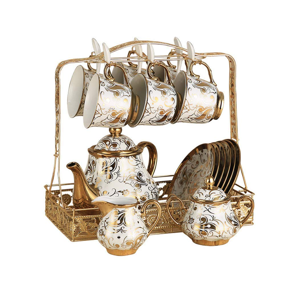 Havitar Coffee Cup Set Full Set of Chinese Bone China Ceramic Cup and Tea Tray Tea Set Tea Set Tea Cup Home Water Cup (Rich) by Havitar
