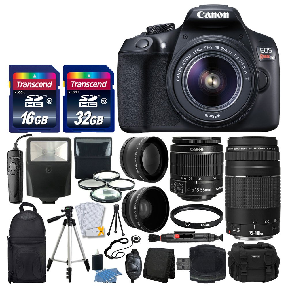 Canon EOS Rebel T6 Digital SLR Camera + Canon 18-55mm EF-S IS II Lens & EF 75-300mm III Lens + Wide Angle & 2x Lens + Macro Filter Kit + 48GB Card + Gadget Bag + Quality Tripod + Remote + Slave Flash by PHOTO4LESS