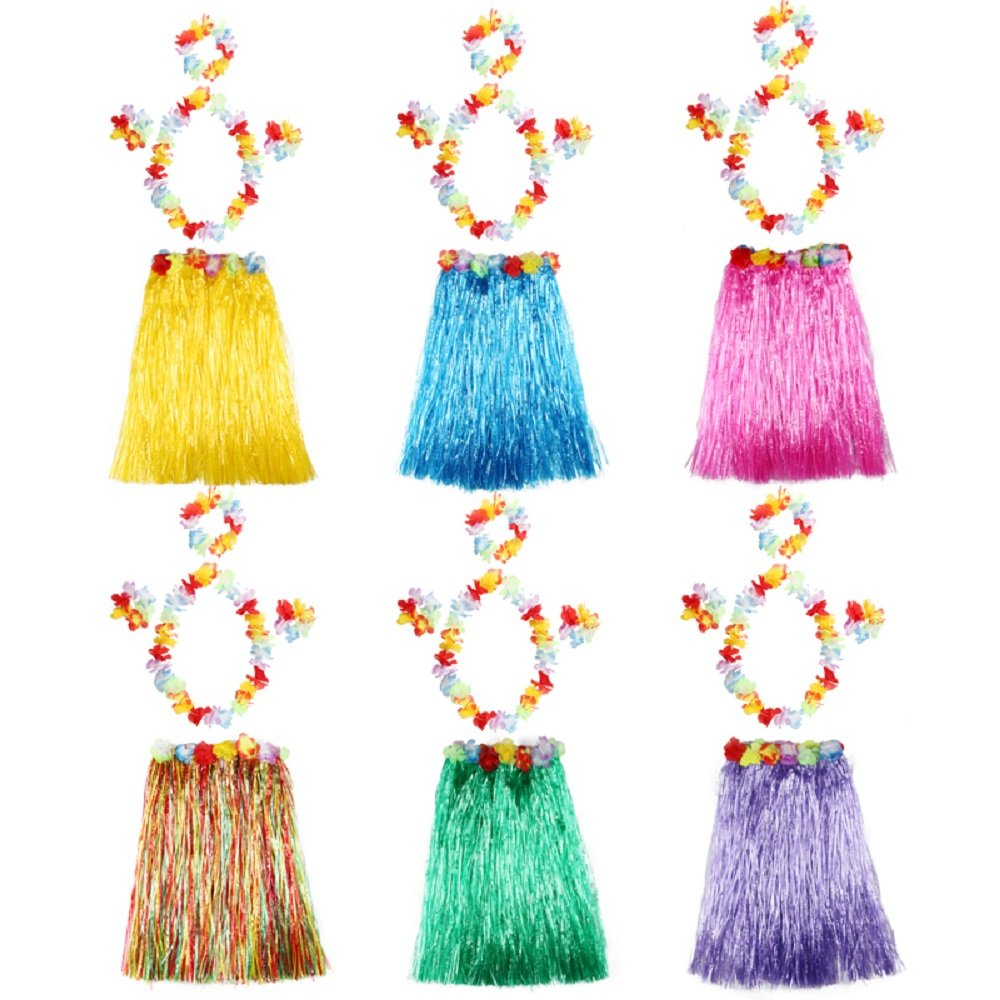 Assorted Color Hula Dancer Grass Skirt with Flower Costume Set, Pack of 6