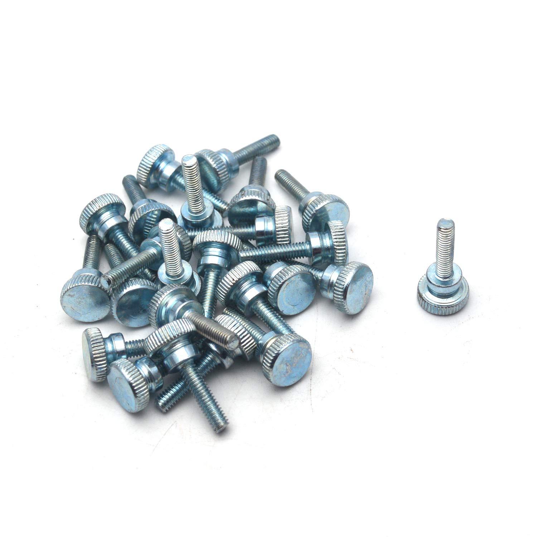 Antrader GB834 M4x16mm Zinc Plated Carbon Steel Flat Knurling Head Knurled Thumb Screw Hand Tighten Curtain Wall Glass Lock Mechanical Equipment Screws 24-Pack