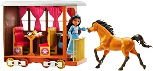 Mattel Spirit Untamed Lucky's Train Home Playset, Train with Rolling Wheels Balcony, Dining Accessories, Lucky Doll (7-in), Spirit (Approx.8-in) & More