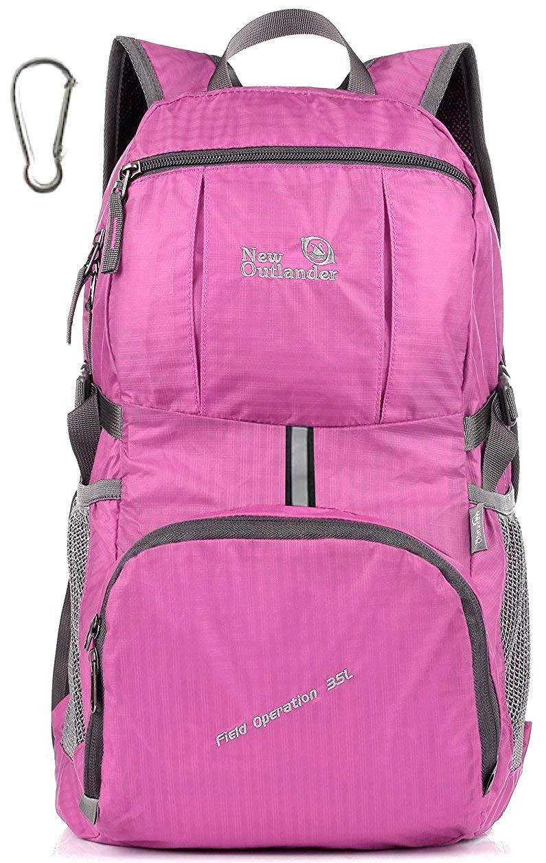 Outlander Packable Lightweight Travel Hiking Backpack Daypack (New Pink)