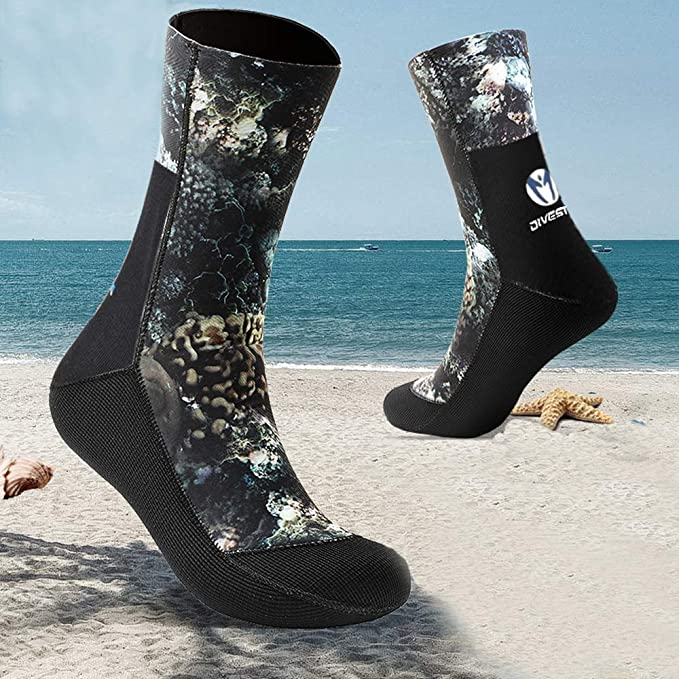 Skyone Neoprene Wetsuit Socks Scuba Surf Booties for Men Women Kids 3MM 5MM Diving Boots Swim Booties Fin Socks Thermal Flexible Anti Slip for Spearfishing Wading Kayaking Snorkeling Beach