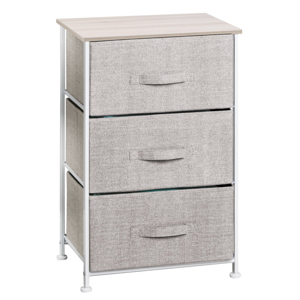 InterDesign 05250 Aldo Fabric 4-Drawer Storage Organizer Unit for Bedroom, Nursery, Closet, Entryway-Linen