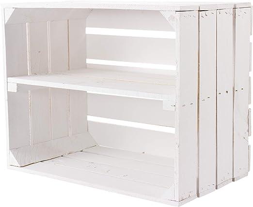 Vintage Muebles 24 GmbH Blanca Fruta kistem con Entre Tabla Manzana Caja Vino – Portacajas Caja Zapatero Caja + + + 50 x 30 x 40 cm (Blanco con Plantilla Longitudinal): Amazon.es: Juguetes y juegos