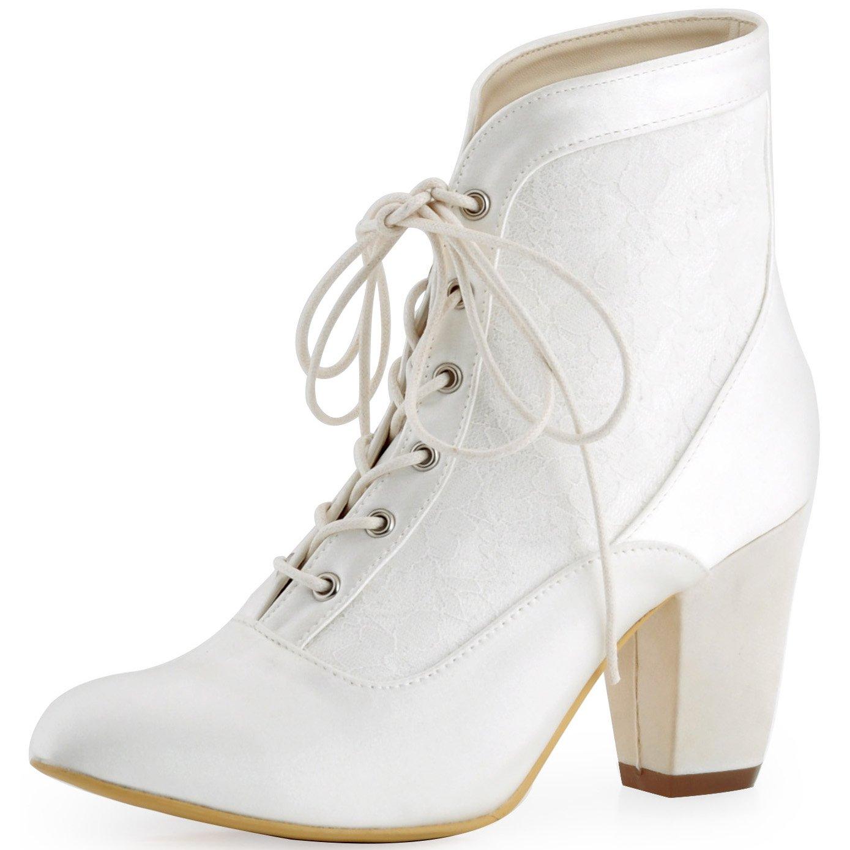 ElegantPark HC1528 Women Closed Toe Chunky Heel Lace up Satin Lace Wedding Bridal Boots Ivory US 8