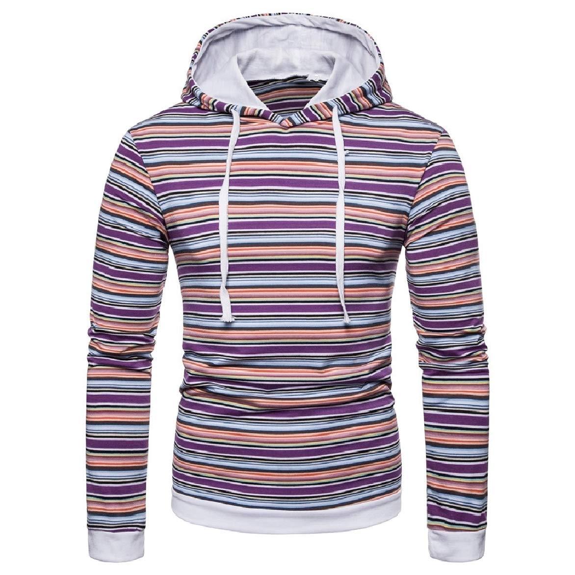 Abetteric Men Hood Stripes Printed Plus Size Pullover Outwear Sweatshirt