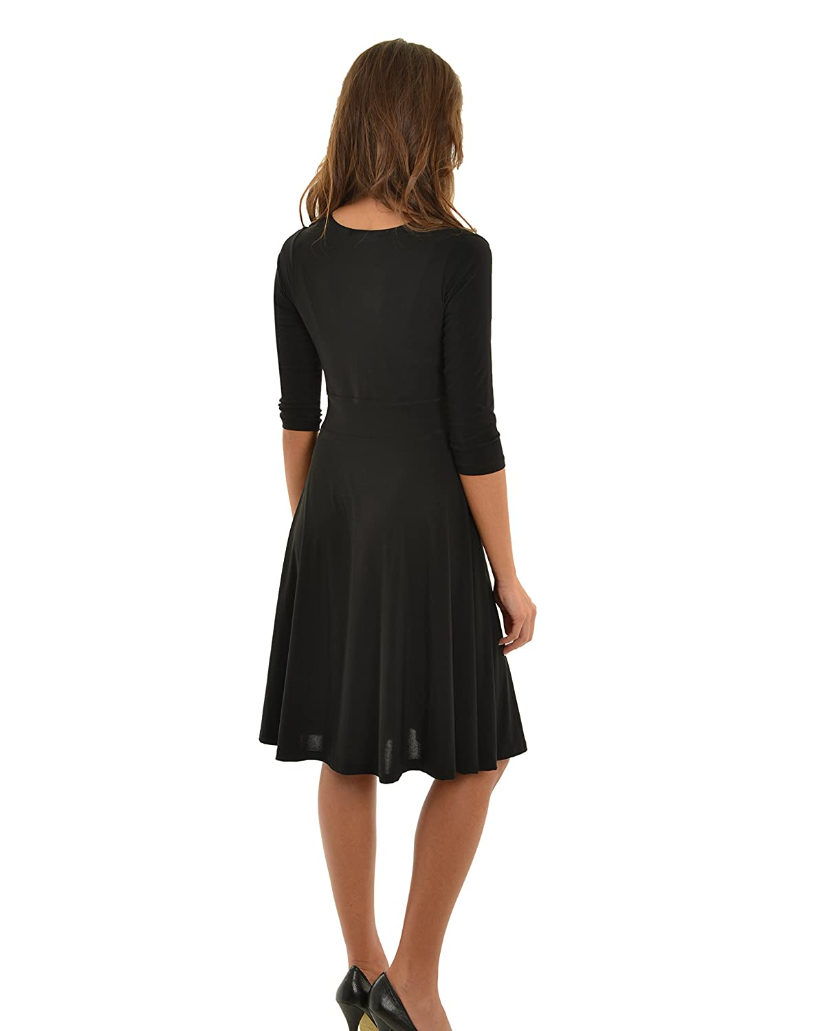 Womens Little Black Dress with Cowl Neck and A-Line Skirt LBD Sizes: Large at Amazon Womens Clothing store: