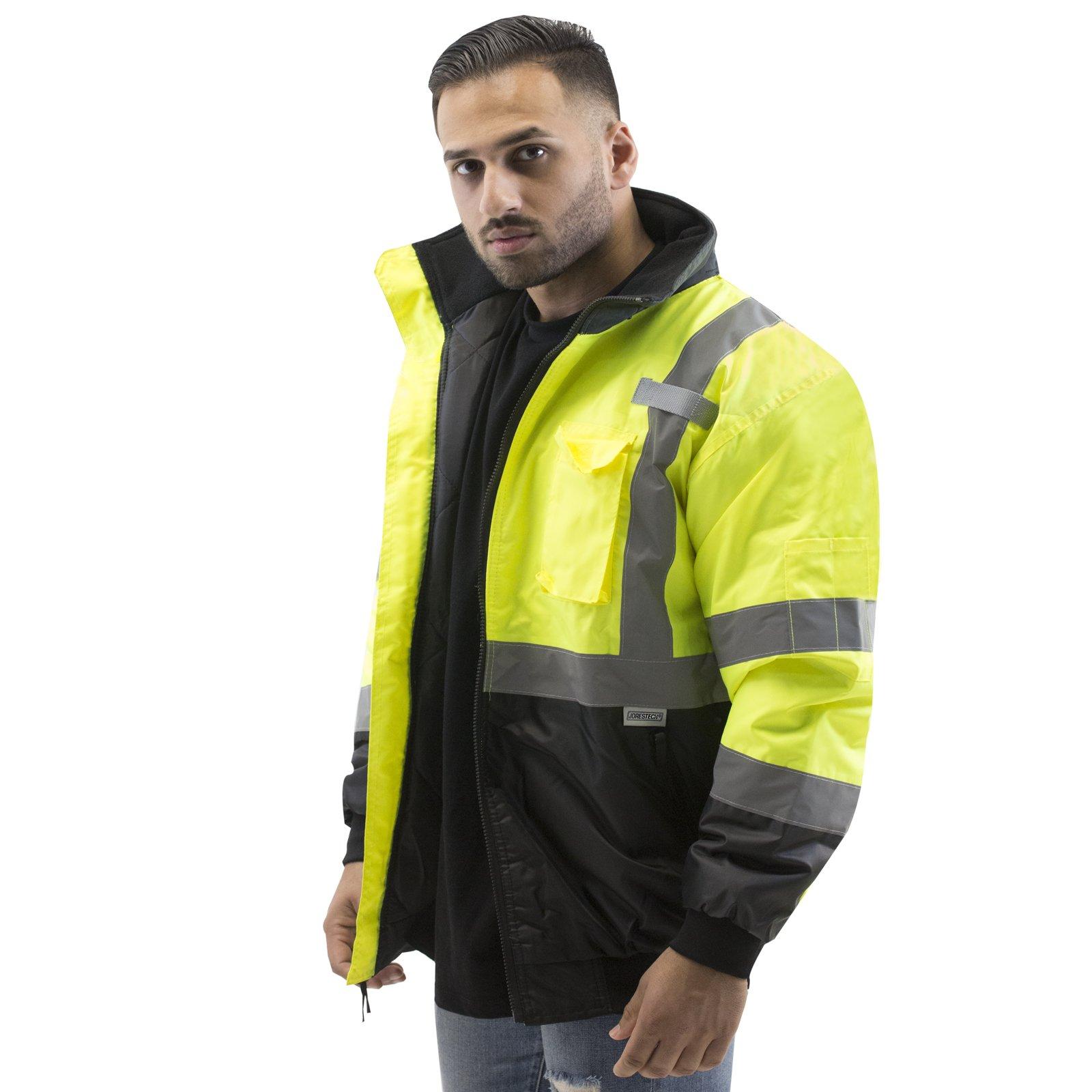 JORESTECH High Visibility Waterproof Bomber Jacket (Medium, Yellow)