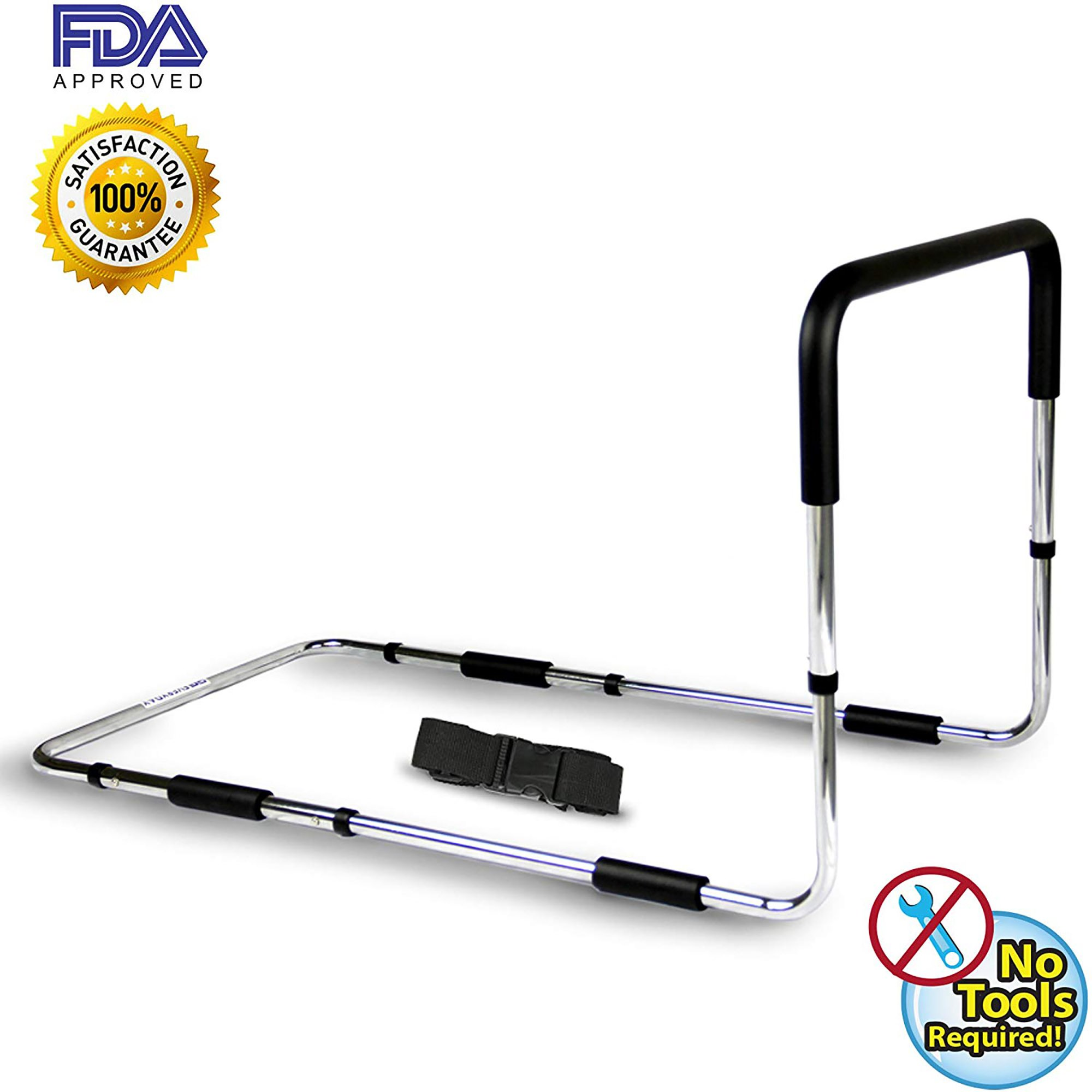 Everyday Medical Adjustable Bed Rail, Metal Bed Mobility Bar, Bed Safety Rails For Adults Offers Unrivalled Assistance For Seniors, The Elderly, Injured and Disabled, Suitable For Double & Que Bed