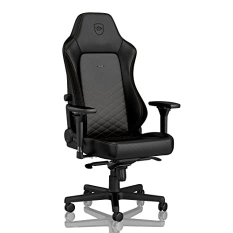 on sale 277a5 39379 noblechairs Hero Gaming Chair - Office Chair - Desk Chair - PU Leather -  330 lbs - 125° Reclinable - Lumbar Support - Racing Seat Design - Black/Gold