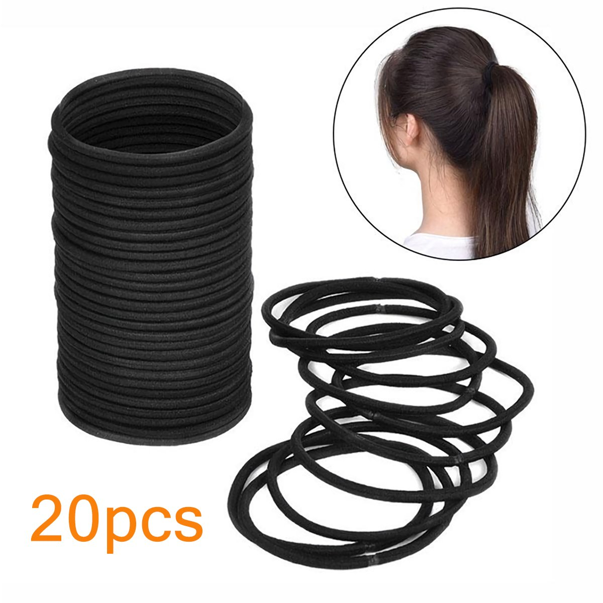 Elastic Hair Ties Ropes Seamless Solid Neural Color Women Girls Hairband Women Hair Accessories (20pcs/black) Suces