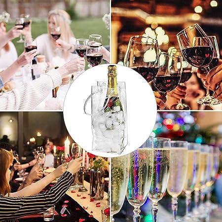 Bolsa de Vino para Hielo, 25 x 11 cm Bolsa de Hielo a Prueba de Fugas de PVC Bolsa de Hielo Transparente Bolsa de Enfriador de Vino con Asa para Vino Blanco, Champán, Cerveza Fría y Bebidas Frías