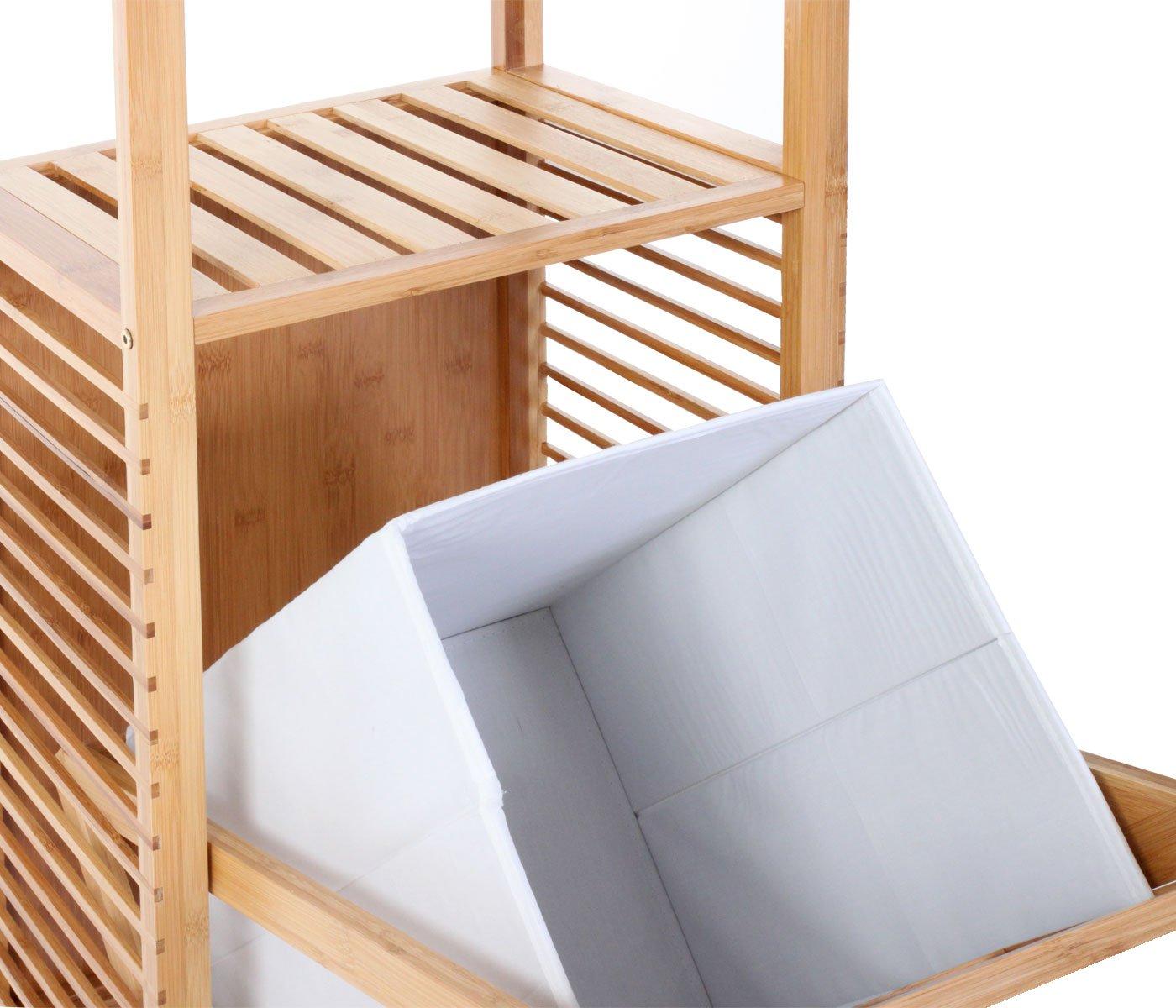 Badezimmer Set Narita, Badschrank Standregal Wäschekorb, Bambus 3 ... | {Badschrank bambus 77}