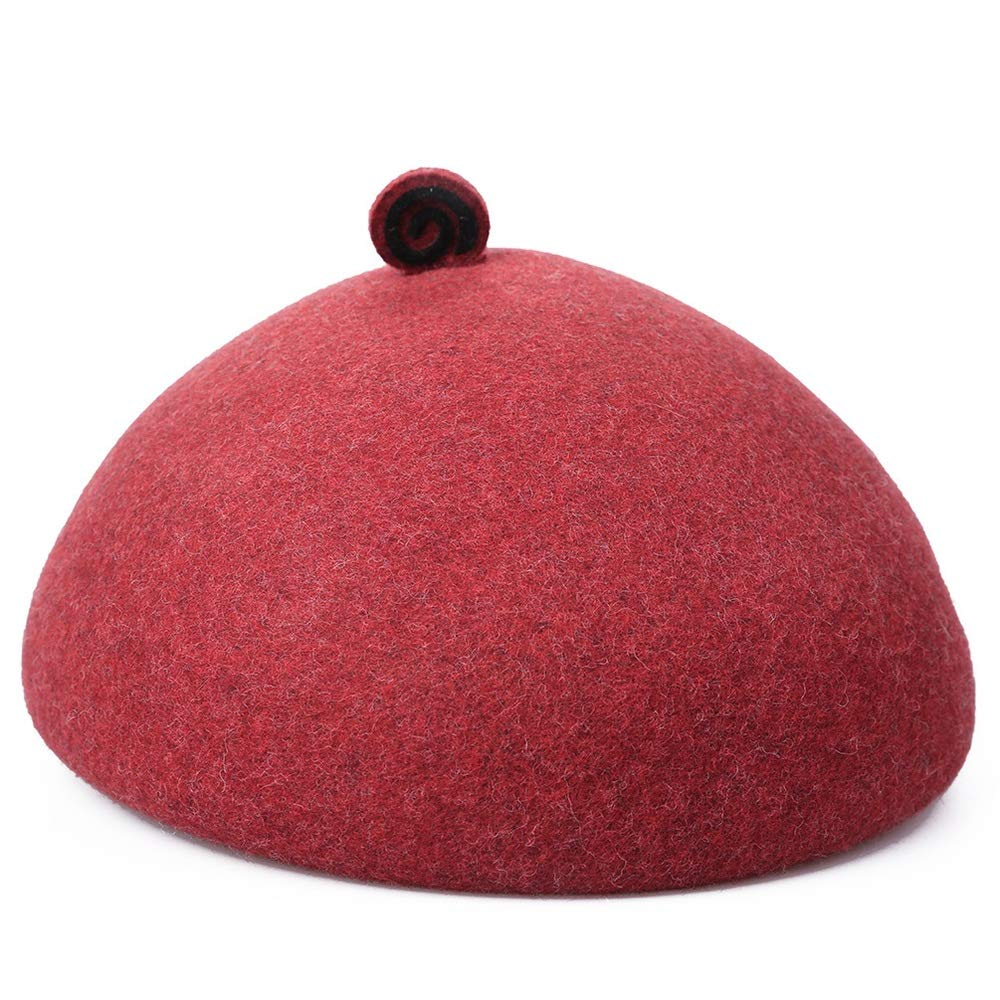 Sviper Artists hat Cute Wool Felt Dome Ribbon Winter Floppy Hats Berets for Women Female in hat Color : White