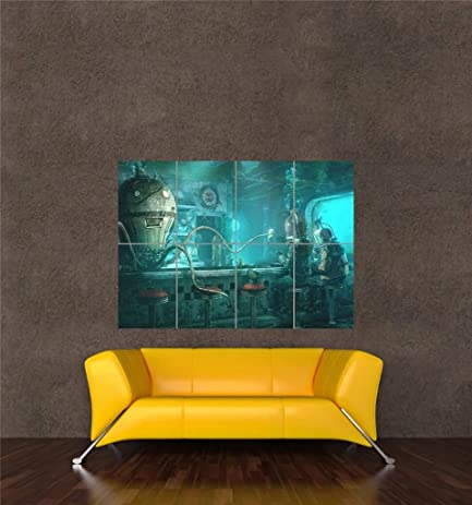 underwater bar octopus steampunk new giant wall art print picture poster oz980