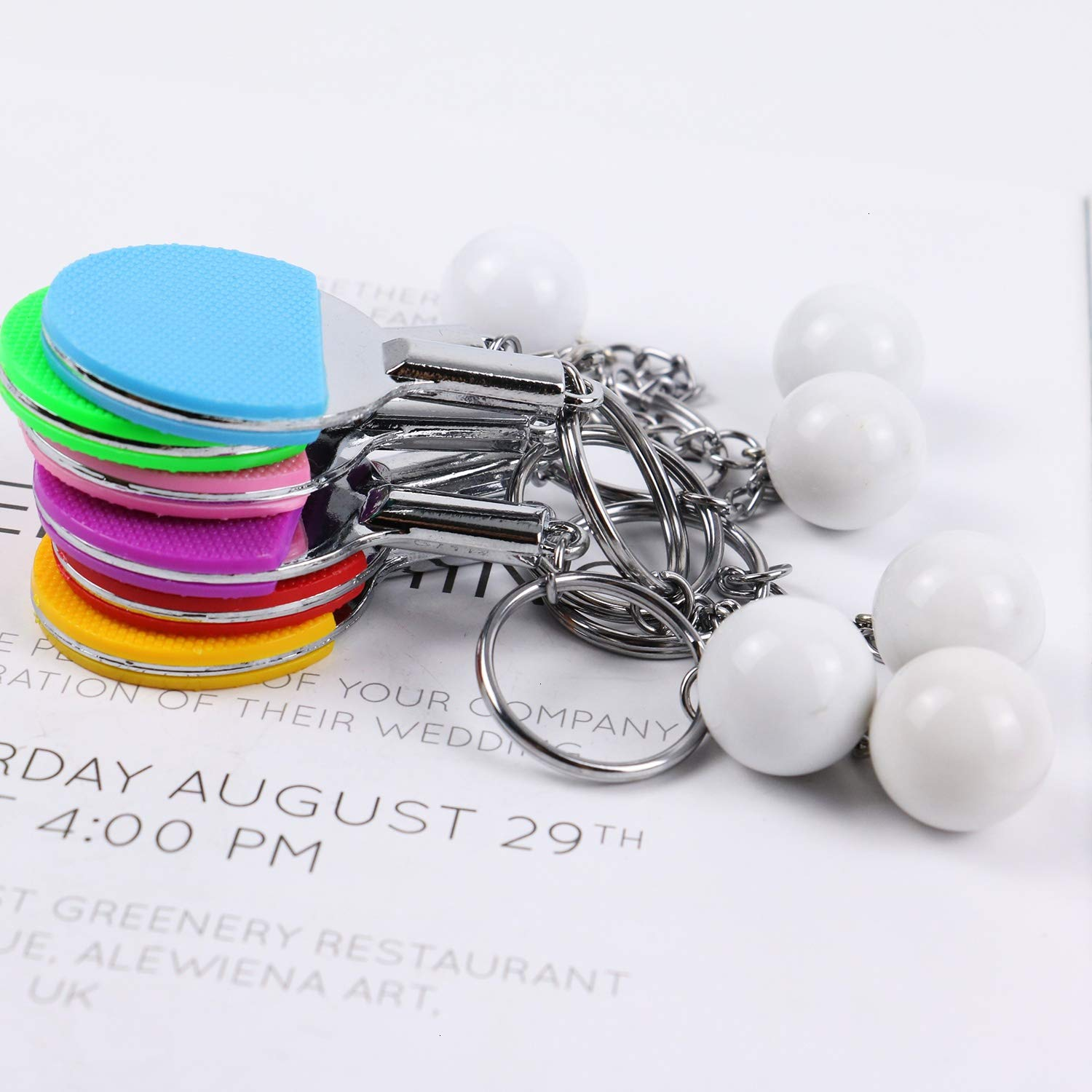 Pomeat 6Pcs Table Tennis Keychains Ping-Pong Racket /& Ball Key Chain Sport Style Keychain Set