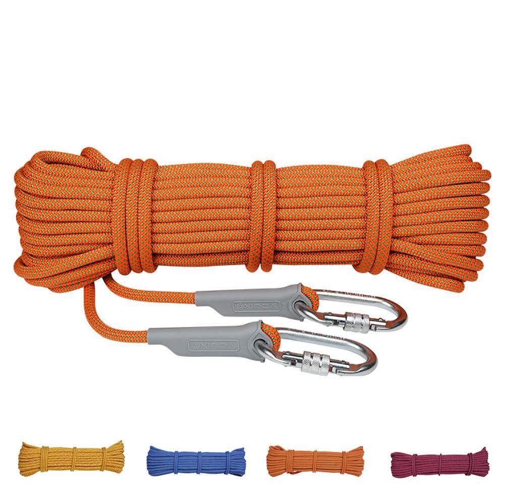Orange AMCER Cordes d'Escalade Sport Ficelage Corde Auxiliaire Polyester Nylon Equipement de Prougeection pour Le Randonnée, L'alpinisme, Montagne - Bleu 12mm 10m