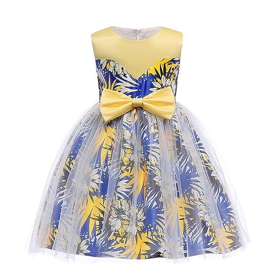 ❤ Vestido Boda Fiesta Chica,Nudo Floral de la Mariposa Falda de Malla Impresión de la Hoja Princesa Dama de Honor Vestido del Vestido de Boda de la ...