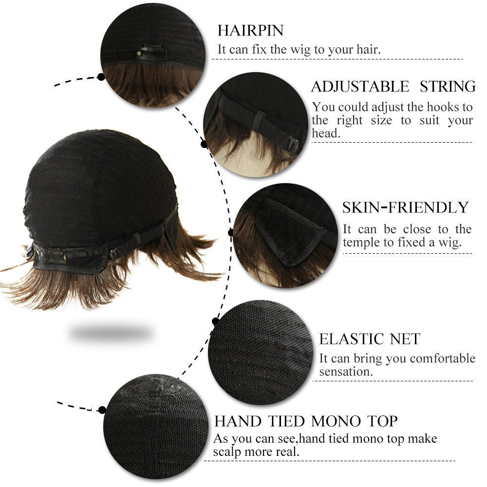 VRZ Short Black Wavy Human Hair Wigs Color 1B(8815B) by VRZ (Image #6)