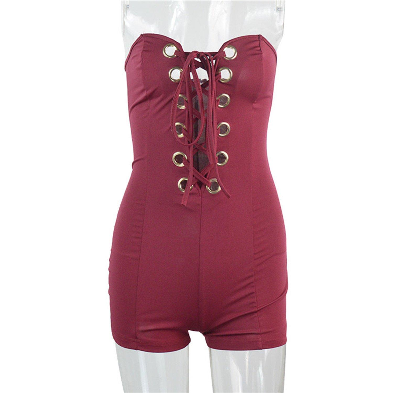 AUUOCC jumpsuits Eyelet Tie-upJumpsuit Bodycon Short Jumpsuit Bodysuit Slim XD956 Wine red L