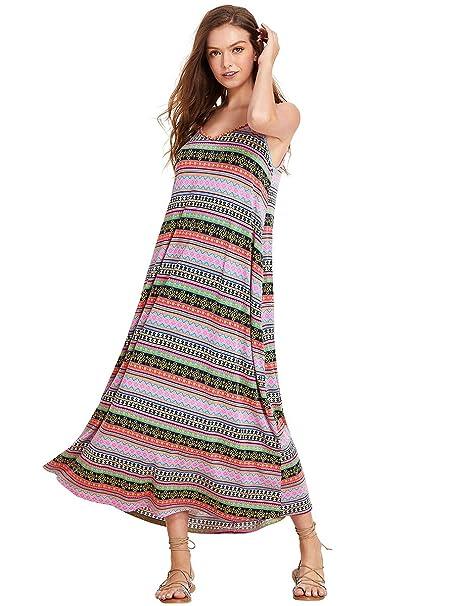 4fb69fae068 Romwe Women s Bohemian Print Sleeveless Spaghett Strap Pocket Flowy Maxi  Dress Multicolor M