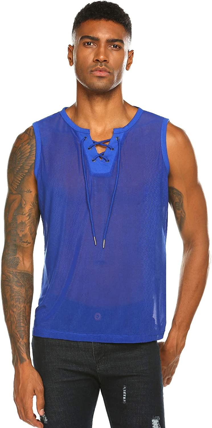 COOFANDY Men's Mesh Tank Tops Sleeveless V Neck See Through Shirts Muscle Tanks Sexy Fishnet Clubwear Party Vest
